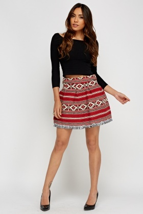Fringed Hem Box Pleat Skirt