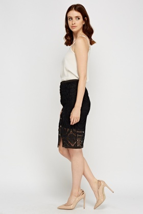 Mesh Overlay Button Up Skirt