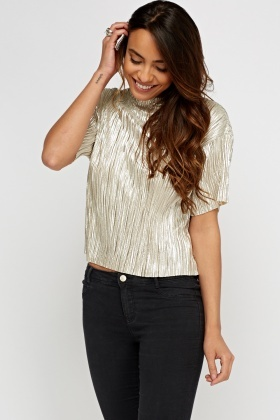 Metallic High Neck Pleated Top