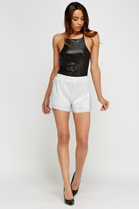 Metallic Pleated Shorts