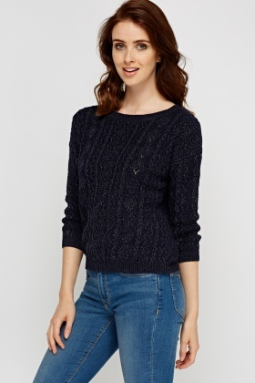 Navy Cable Knit Knitted Jumper