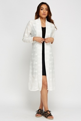 Open Front Textured Longline Cover Up
