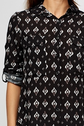 Printed Dip Hem Causal Shirt