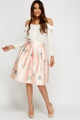 Sateen Mixed Print Pleated Skirt