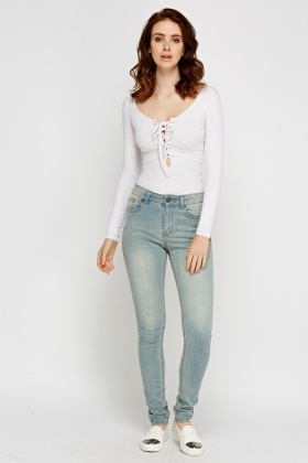 Slim Leg Light Denim Jeans