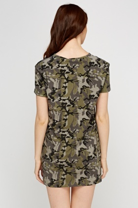 Tie Up Neck Camouflage T-Shirt Dress
