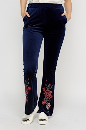Velveteen Embroidered Joggers