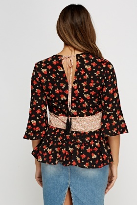 Black Floral Mixed Print Flare Top