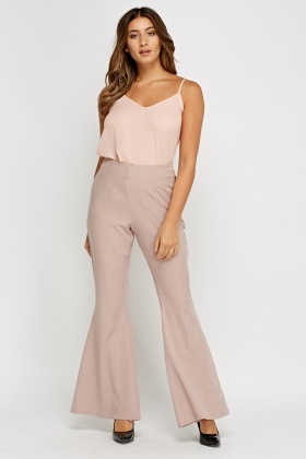 Brown Flare Wide Leg Trousers