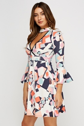 Choker Printed Flare Sleeve Dress
