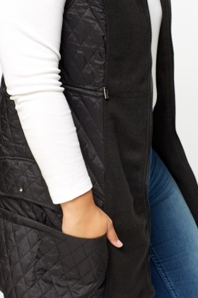Contrast Quilted Sleeveless Jacket