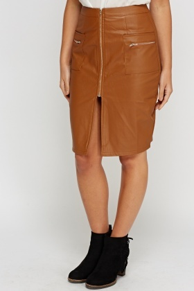 Faux Leather Zipped Midi Skirt
