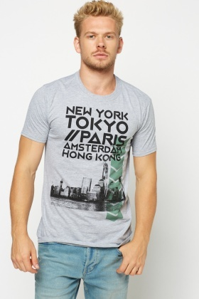 Grey Printed Short Sleeve T-Shirt
