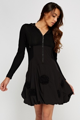 hooded contrast ruched hem dress black 65586 5 everything5pounds homepage,Womens Clothing 5 Pounds Uk