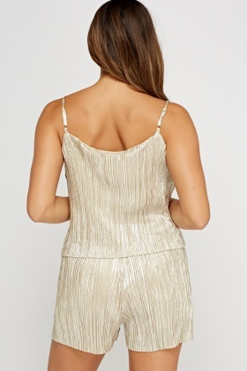 Metallic Pleated Overlay Playsuit