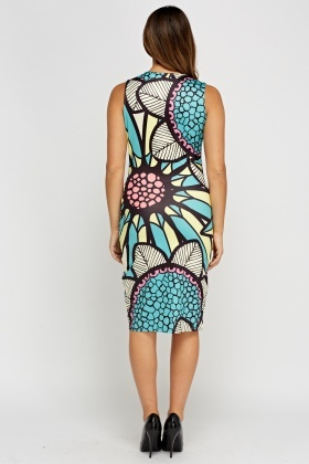 Printed Wrapped Ruched Side Dress