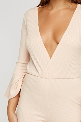 Ribbed Plunge Peach Jumpsuit