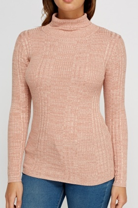 Ribbed Speckled Turtle Neck Knit Top