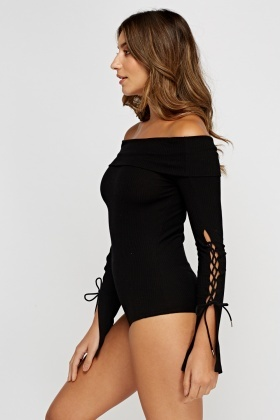Ribbed Tie Up Sleeve Off Shoulder Bodysuit