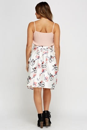 Sateen Flower Print Box Pleat Skirt