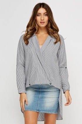 Striped Wrap Dip Hem Top