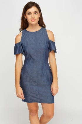 Cold Shoulder Denim Dress
