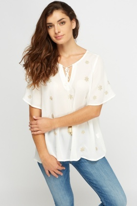 Embroidered Snowflake Blouse