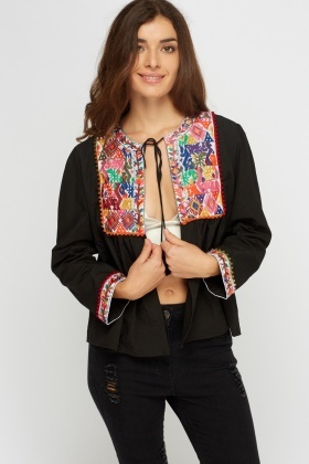 Embroidered Tie Up Neck Open Top
