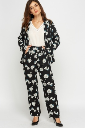 Floral Printed Sateen Trousers