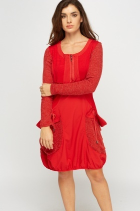 Knitted Contrast Casual Dress