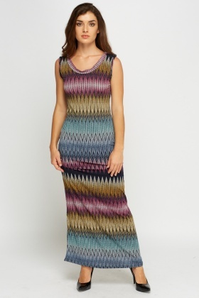 Knitted Multi Print Maxi Dress