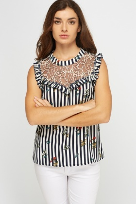Mesh Insert Printed Top