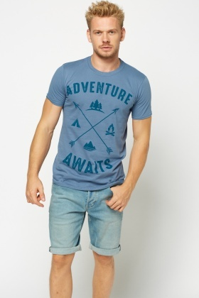 Middle Blue Printed T-Shirt