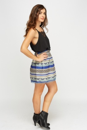 Mix Print Box Pleat Skirt