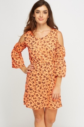 Printed Cold Shoulder Flared Dress