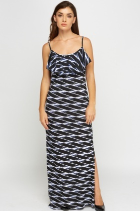 Printed Frilled Maxi Dress