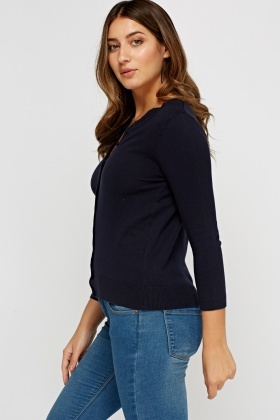 Round Neck Knitted Cardigan
