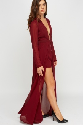 Sheer Playsuit Insert Long Line Dress