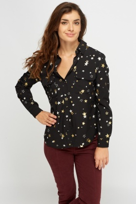 Star Printed Dip Hem Shirt