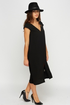 V-Neck Cap Sleeve Longline Dress