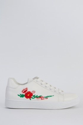 Embroidered Faux Leather Trainers