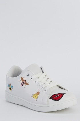 Embroidered Lace Up White Trainers