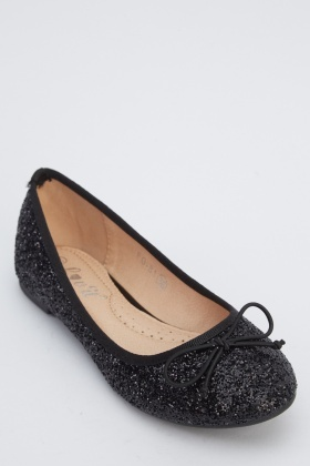 Glitter Black Ballet Pumps
