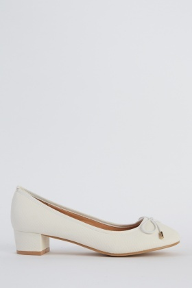 Low Block Heel Textured Shoes
