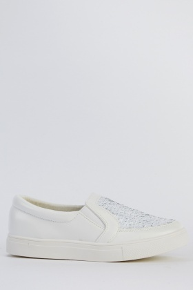Sequin Contrast Slip On Shoes