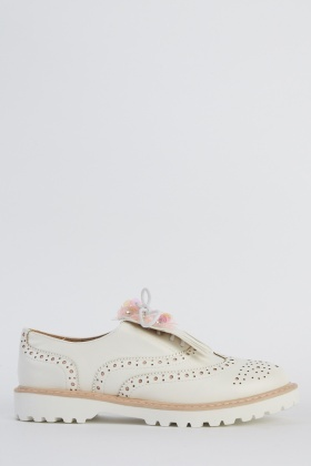 Sequin Detail Trim Faux Leather Brogue Shoes