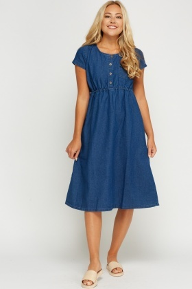 Cap Sleeve Denim Dress