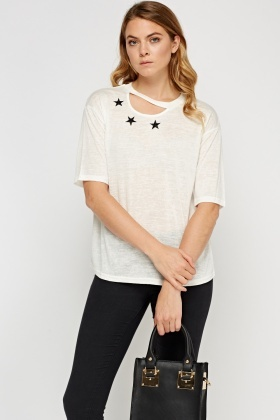 Cut Out Neck Star Print Top