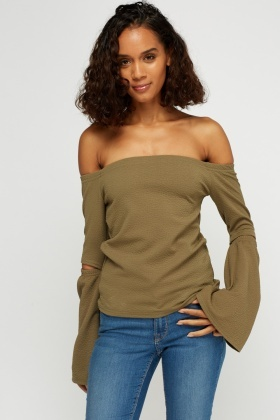 Cut Out Sleeve Off Shoulder Top