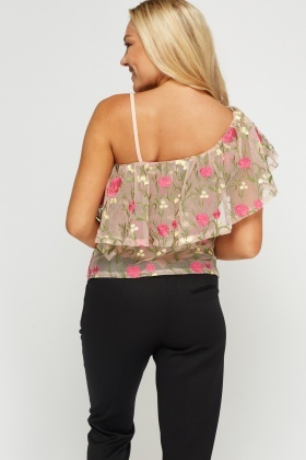 Embroidered Mesh Top
